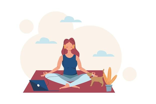 Dziewczyna robi joga, aby uwolnić się od stresu