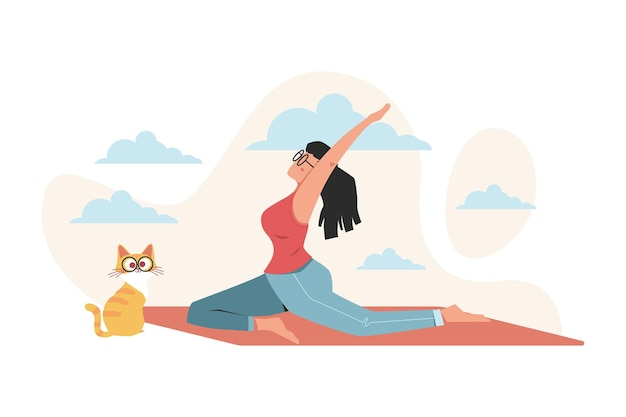 Dziewczyna robi joga dla korzyści zdrowotnych ciała, umysłu i emocji