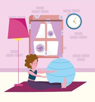 Dziewczyna robi joga w domu