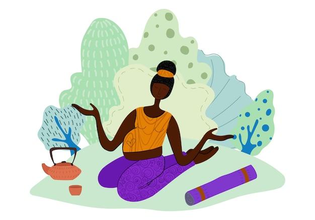 Dziewczyna robi joga w parku, kobieta w sporcie, zdrowy styl życia