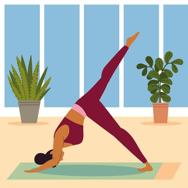 Dziewczyna robi jogę w domu