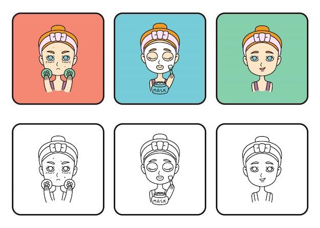 Dziewczyna robi maskę. dbaj o siebie. nastolatka dziewczyny zrobić maskę z ogórków.