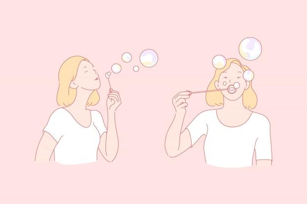 Dziewczyna robi mydlanym bąblom ilustracyjnym