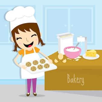 Dziewczyna robi piekarni aktywności ślicznej kreskówce