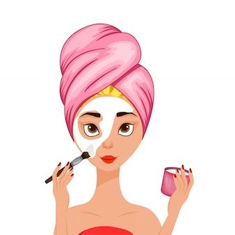 Dziewczyna robi sobie zabieg kosmetyczny na twarz.