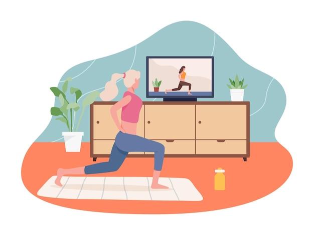 Dziewczyna robi sport kryty, aktywny zdrowy tryb życia.