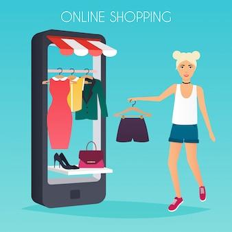 Dziewczyna robi zakupy online z telefonu. sprzedaż. płaska konstrukcja nowoczesna ilustracja koncepcja.