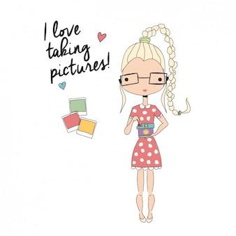 Dziewczyna robienia zdjęć w tle