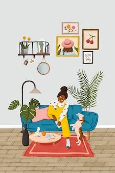 Dziewczyna rozmawia przez telefon na niebieskiej kanapie szkic styl wektor