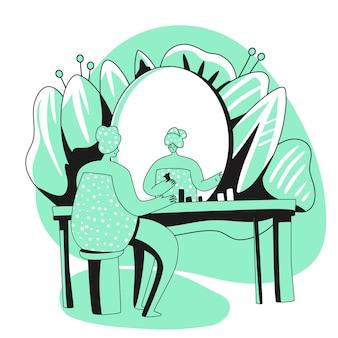 Dziewczyna, siedząca przed lustrem, codziennie rutynowa, oczyszczająca lub nawilżająca skórę. pielęgnacja ciała, codzienna pielęgnacja skóry, procedura higieniczna. ilustracja kreskówka płaski