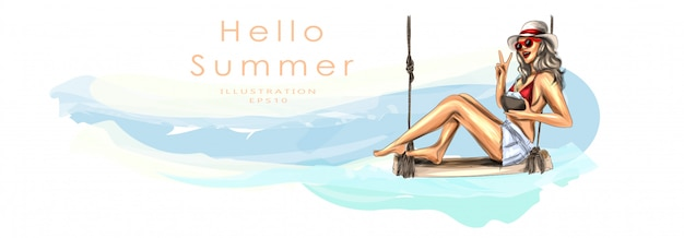 Dziewczyna siedzi na drewnianej kanapie i pije koktajl kokosowy. opalona piękna dziewczyna w stroju kąpielowym. koncepcja wakacje na plaży i wakacje. lato, słoneczna plaża, morska bryza. ilustracji wektorowych.