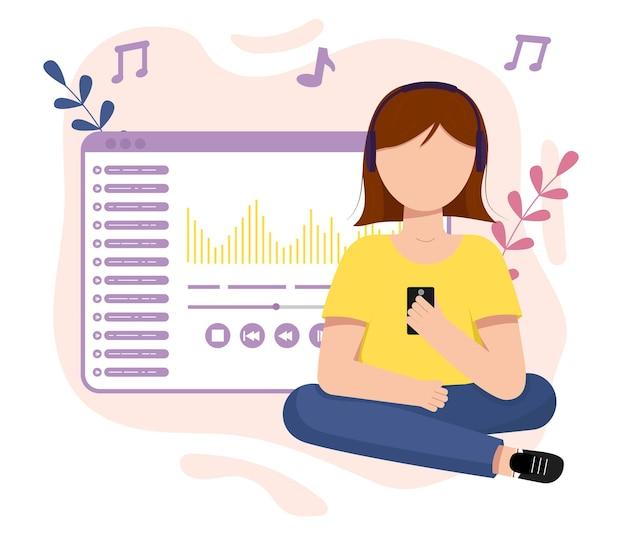 Dziewczyna słucha muzyki. dzień muzyki. ilustracja wektorowa płaski.