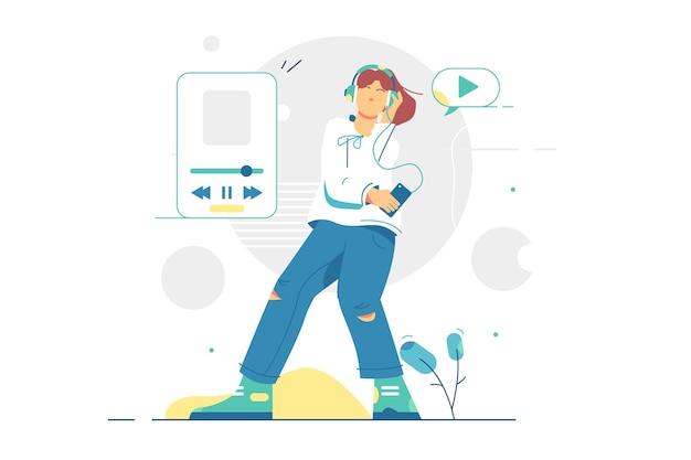 Dziewczyna słuchania muzyki w ilustracji zestawu słuchawkowego. nastolatek cieszyć się muzyką na fajnym urządzeniu typu smartphone płaski. lista odtwarzania utworów na ekranie telefonu komórkowego. muzyka i radość.