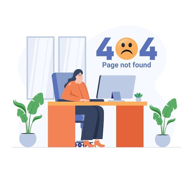 Dziewczyna smutna przez błąd 404 płaska ilustracja