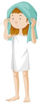 Dziewczyna sobie ręcznik po prysznic kreskówka na białym tle