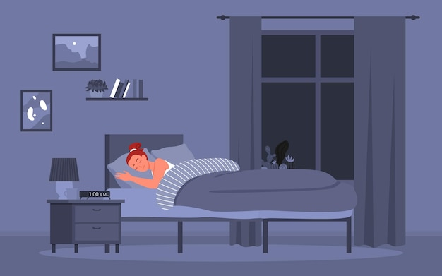 Dziewczyna śpi w łóżku, zdrowy sen w nocy postać z kreskówki młodej kobiety leżącej w łóżku w sypialni