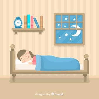 Dziewczyna śpi w łóżku
