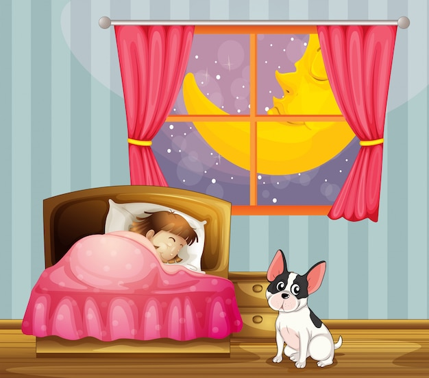 Dziewczyna śpi w swoim pokoju z psem