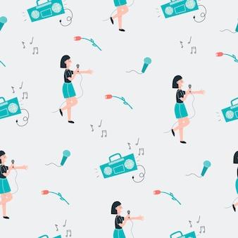 Dziewczyna śpiewa wzór