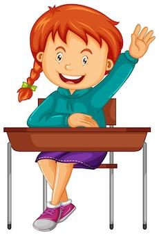 Dziewczyna student siedzieć na biurku szkoły