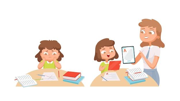 Dziewczyna studiuje. samokształcenie, nauczyciel pomaga uczniowi. szkolenie indywidualne, problemy z materiałem do nauki