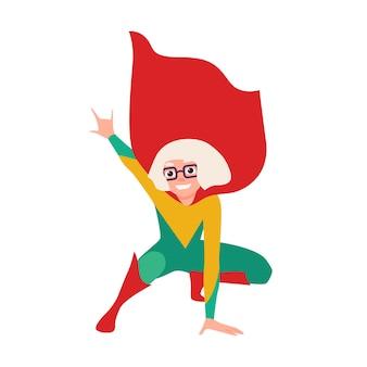 Dziewczyna superbohatera lub supergirl. uśmiechnięte bohaterskie dziecko noszące body, pelerynę i okulary w pozycji kucznej. silny, mądry i odważny dzieciak, fantastyczny charakter. ilustracja wektorowa w stylu cartoon płaski.