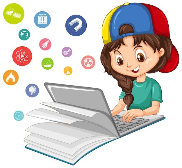 Dziewczyna szuka na laptopie z ikoną edukacji na białym tle