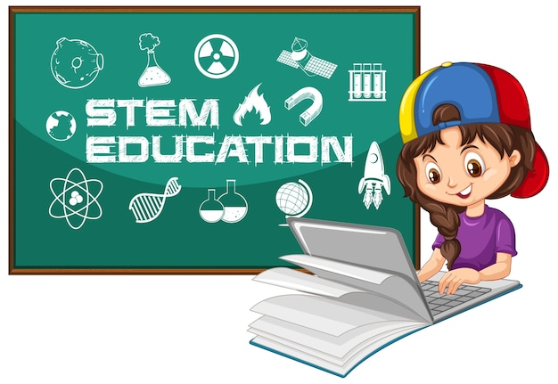 Dziewczyna szuka na laptopie ze stylem kreskówki tekstu edukacji łodygi na białym tle