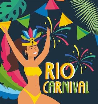 Dziewczyna tancerz z przyjęciem rio karnawał