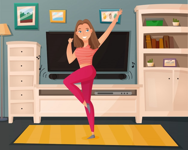 Dziewczyna taniec domu kreskówka