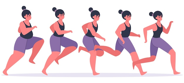 Dziewczyna traci na wadze. prowadzenie kobiety w trakcie odchudzania, bieganie postaci kobiecych i uzyskanie formy, ilustracja etapów utraty wagi. dziewczyna szczupła fitness, kobieta, jogging i trening