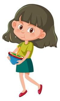 Dziewczyna trzyma górną postać z kreskówki na białym tle