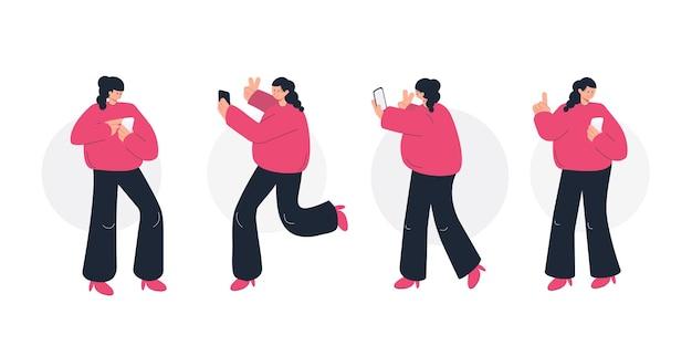 Dziewczyna trzyma i za pomocą smartfona
