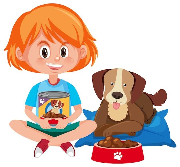 Dziewczyna trzyma karmę dla psów z ładny pies na białym tle
