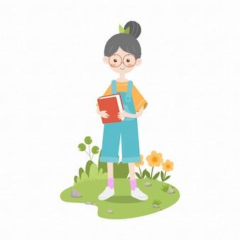 Dziewczyna trzyma książkę w kombinezon dzieci prosta ilustracja