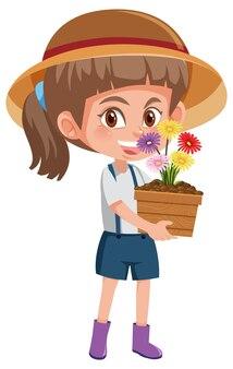 Dziewczyna trzyma kwiat w doniczce postać z kreskówki na białym tle