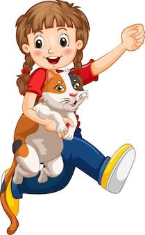 Dziewczyna trzyma ładny kot postać z kreskówki na białym tle