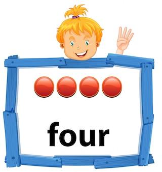 Dziewczyna trzyma nuber cztery sztandar
