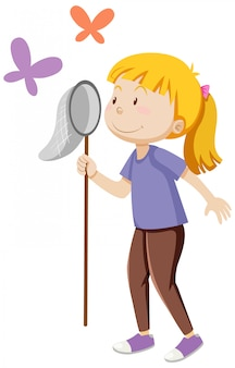 Dziewczyna trzyma owady łapanie w pozycji stojącej z jakimś kreskówka butterfies na białym tle
