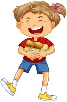 Dziewczyna trzyma postać z kreskówki jedzenie na białym tle