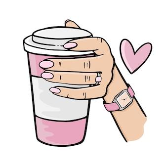 Dziewczyna trzyma różową filiżankę kawy ręcznie rysowane elementy kreskówka zestaw clipartów