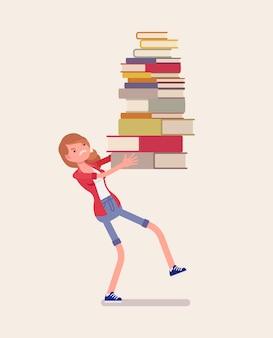 Dziewczyna trzyma stos książek