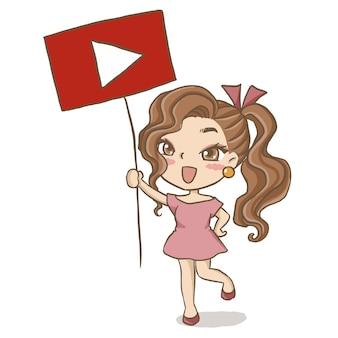 Dziewczyna trzyma znak youtube