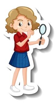 Dziewczyna trzymająca naklejkę z postacią z kreskówek ze szkła powiększającego
