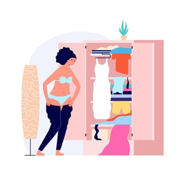 Dziewczyna ubiera się. rano, młoda kobieta ubrana do pracy lub na spacer. problemy z tłuszczem, ilustracji wektorowych z nadwagą. ubrania ubrane, moda kobieca i wesołe