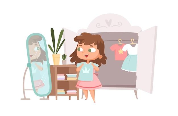 Dziewczyna ubiera się. śliczne ubrania dla dzieci w szafie. kreskówka moda dziecko, dziecko kobiece zmiana ilustracji wektorowych sukienka. lustrzane meble poranne, atrakcyjny uśmiech dziewczyny