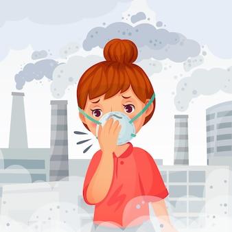Dziewczyna ubrana w maskę n95. młoda kobieta nosić ochrony twarzy maski, na zewnątrz pm 2. 5 ilustracja zanieczyszczenia powietrza i ochrony oddechu