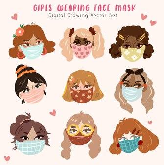 Dziewczyna ubrana w maski medyczne, aby zapobiec chorobie, grypie, zanieczyszczenie powietrza, zanieczyszczenie powietrza na świecie cyfrowa ilustracja