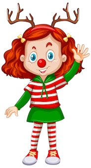 Dziewczyna ubrana w opaskę renifera i świąteczny kostium czerwony nos