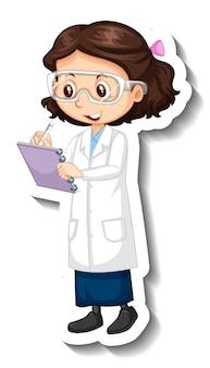 Dziewczyna ubrana w strój naukowca naklejkę z postacią z kreskówek